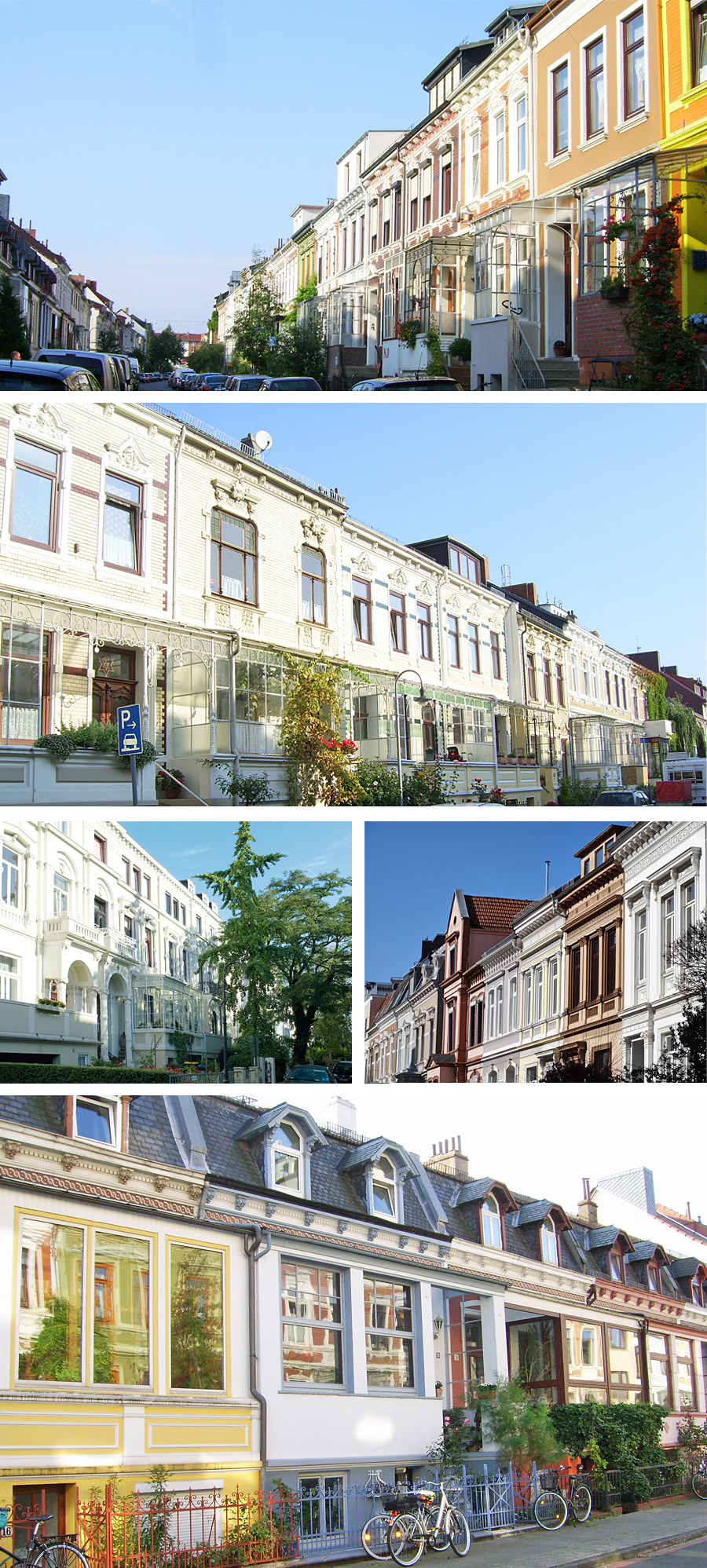 Street views showing the exteriors of various Bremen houses in Ostertor and Neustadt